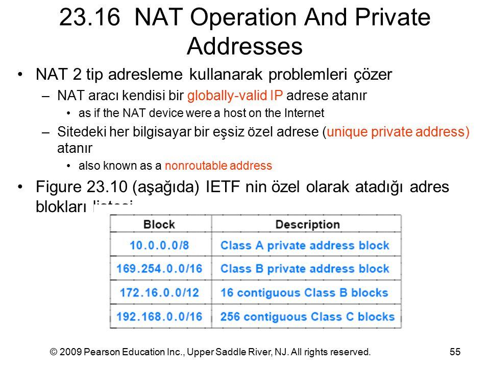 © 2009 Pearson Education Inc., Upper Saddle River, NJ. All rights reserved.55 23.16 NAT Operation And Private Addresses NAT 2 tip adresleme kullanarak