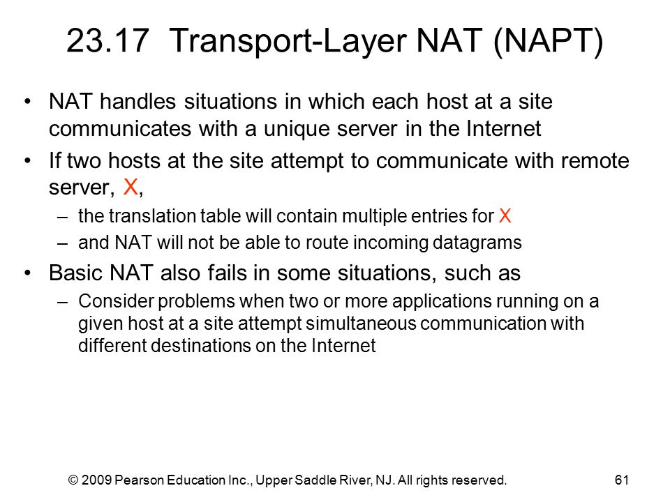 © 2009 Pearson Education Inc., Upper Saddle River, NJ. All rights reserved.61 23.17 Transport-Layer NAT (NAPT) NAT handles situations in which each ho