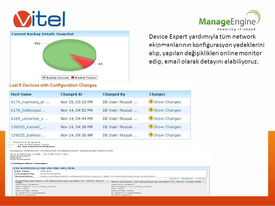 Device Expert yardımıyla tüm network ekipmanlarının konfigurasyon yedeklerini alıp, yapılan değişiklikleri online monitor edip, email olarak detayını