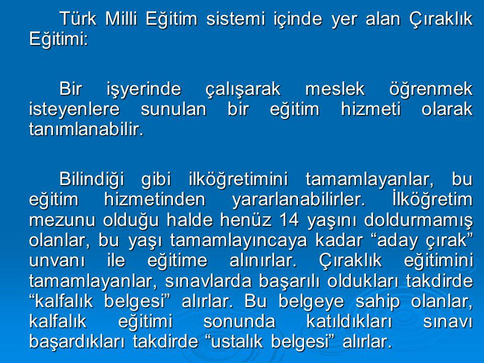 Türk Milli Eğitim sistemi içinde yer alan Çıraklık Eğitimi: Bir işyerinde çalışarak meslek öğrenmek isteyenlere sunulan bir eğitim hizmeti olarak tanımlanabilir.