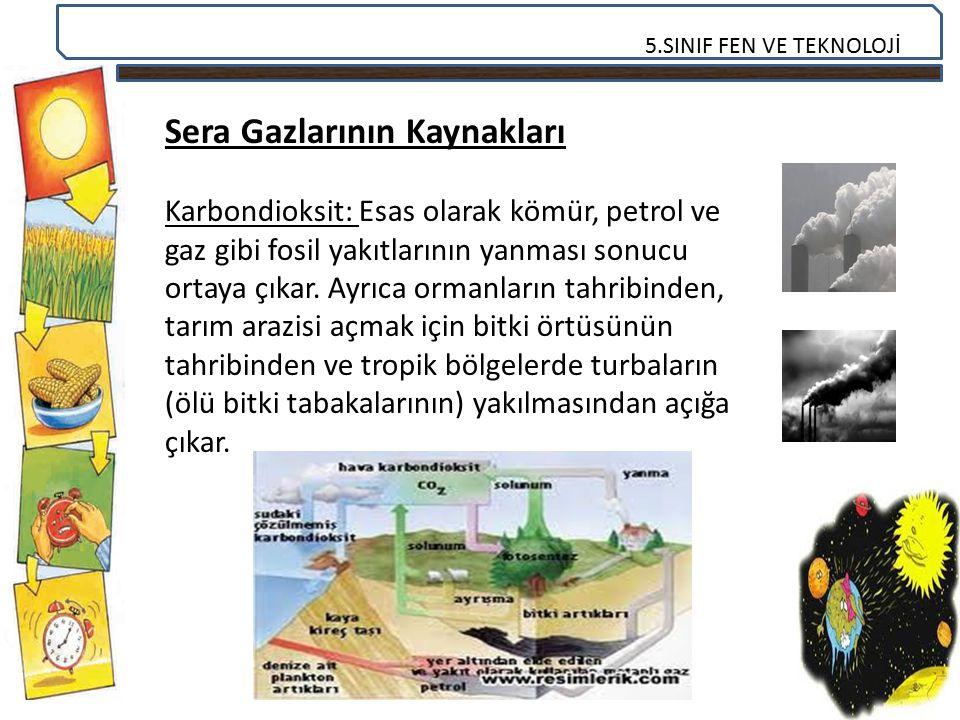5.SINIF FEN VE TEKNOLOJİ Sera Gazlarının Kaynakları Karbondioksit: Esas olarak kömür, petrol ve gaz gibi fosil yakıtlarının yanması sonucu ortaya çıka