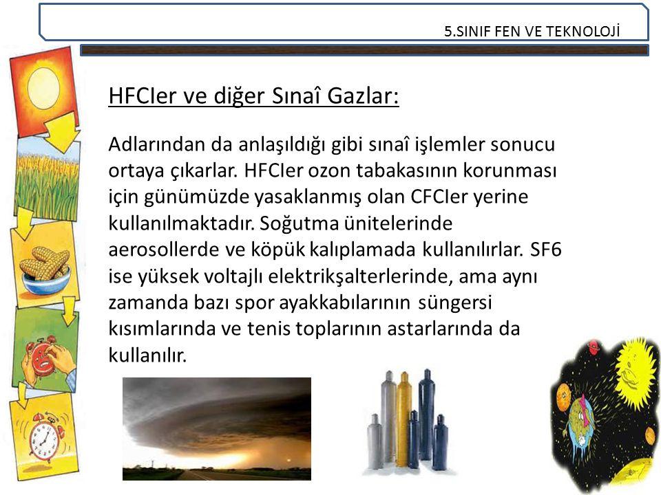 5.SINIF FEN VE TEKNOLOJİ HFCIer ve diğer Sınaî Gazlar: Adlarından da anlaşıldığı gibi sınaî işlemler sonucu ortaya çıkarlar. HFCIer ozon tabakasının k
