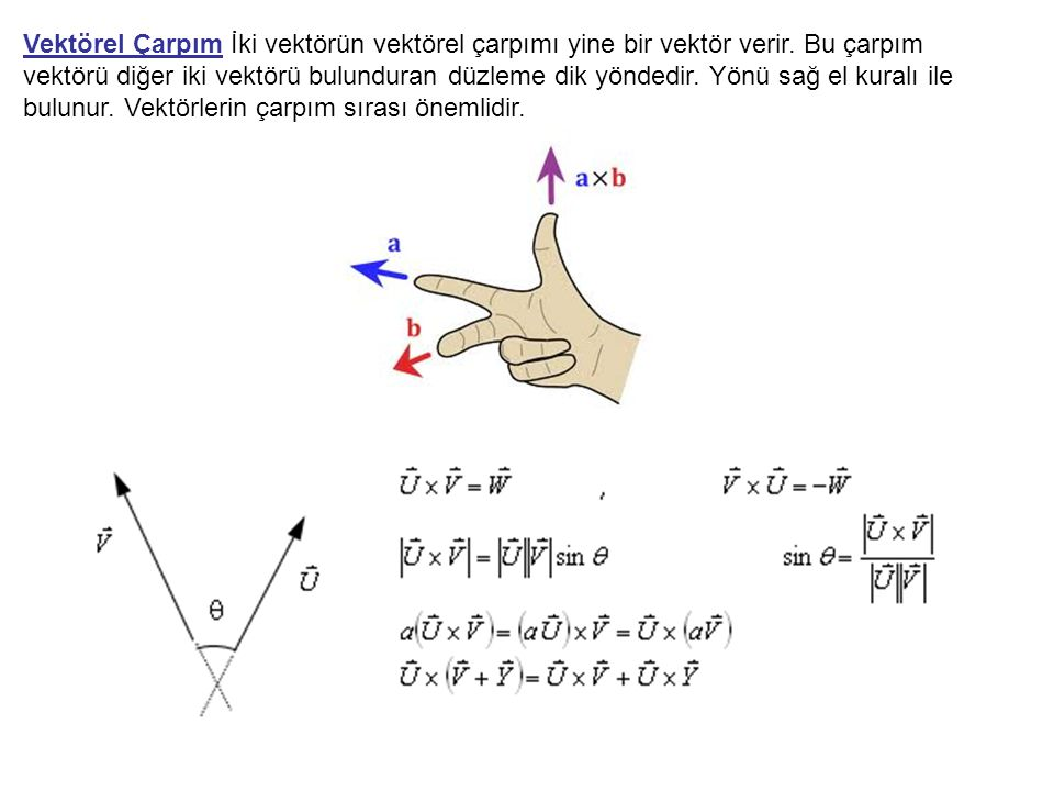Vektörel Çarpım İki vektörün vektörel çarpımı yine bir vektör verir. Bu çarpım vektörü diğer iki vektörü bulunduran düzleme dik yöndedir. Yönü sağ el