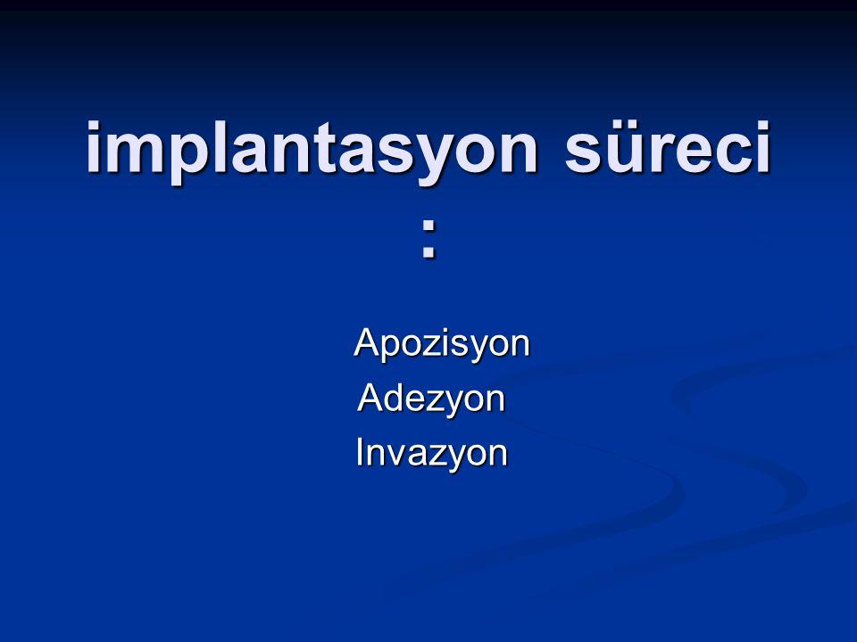 implantasyon süreci : Apozisyon ApozisyonAdezyonInvazyon