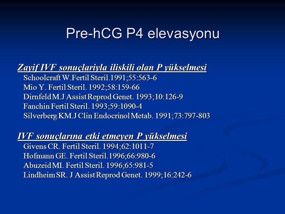 Pre-hCG P4 elevasyonu Zayif IVF sonuçlariyla iliskili olan P yükselmesi Schoolcraft W.Fertil Steril.1991;55:563-6 Schoolcraft W.Fertil Steril.1991;55: