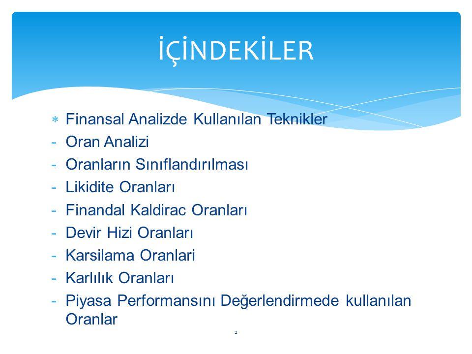  Finansal Analizde Kullanılan Teknikler -Oran Analizi -Oranların Sınıflandırılması -Likidite Oranları -Finandal Kaldirac Oranları -Devir Hizi Oranlar