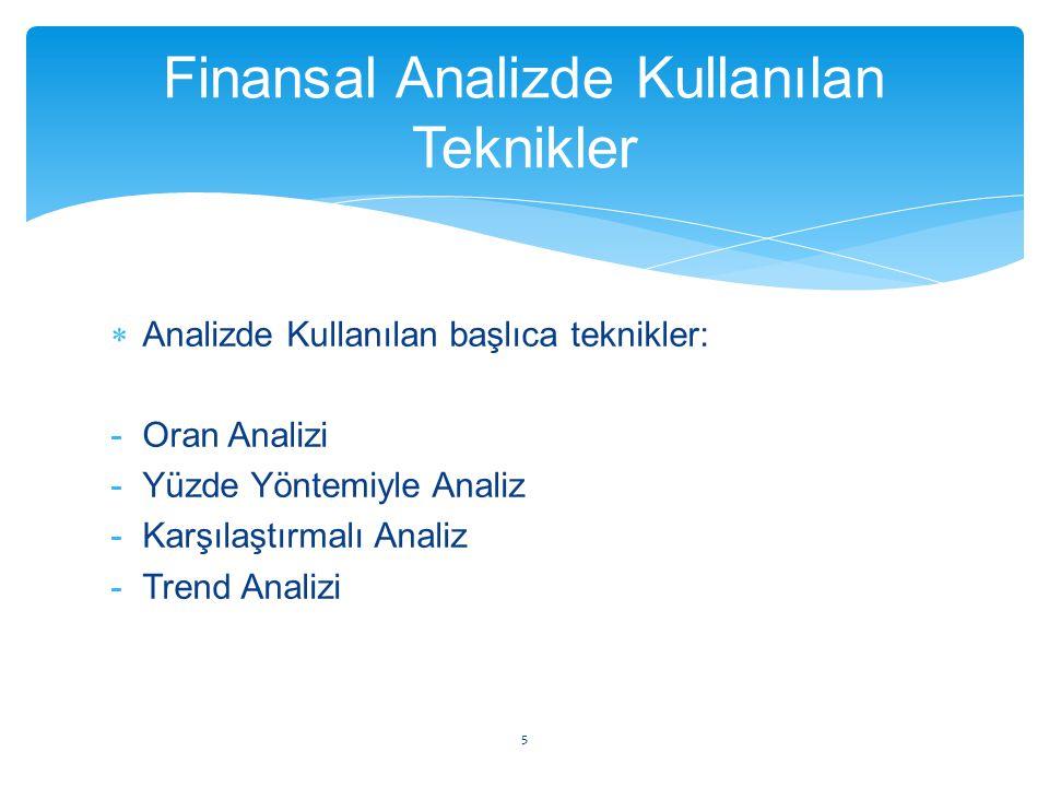 Finansal Analizde Kullanılan Teknikler  Analizde Kullanılan başlıca teknikler: -Oran Analizi -Yüzde Yöntemiyle Analiz -Karşılaştırmalı Analiz -Trend
