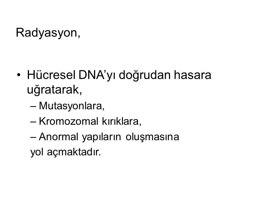 Radyasyon, Hücresel DNA'yı doğrudan hasara uğratarak, –Mutasyonlara, –Kromozomal kırıklara, –Anormal yapıların oluşmasına yol açmaktadır.