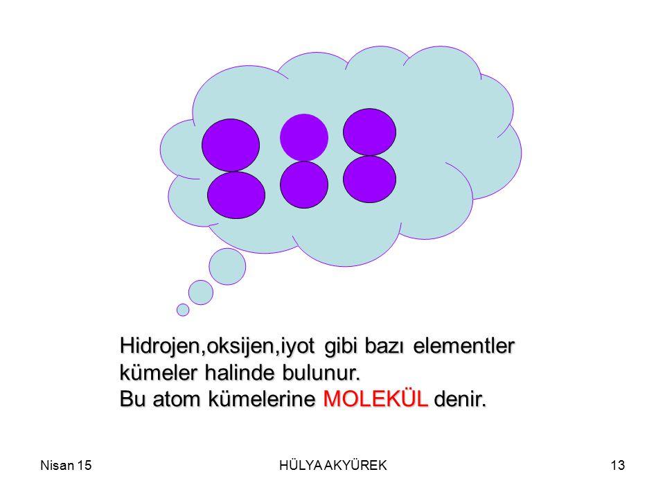 Nisan 15HÜLYA AKYÜREK13 Hidrojen,oksijen,iyot gibi bazı elementler kümeler halinde bulunur. Bu atom kümelerine MOLEKÜL denir.
