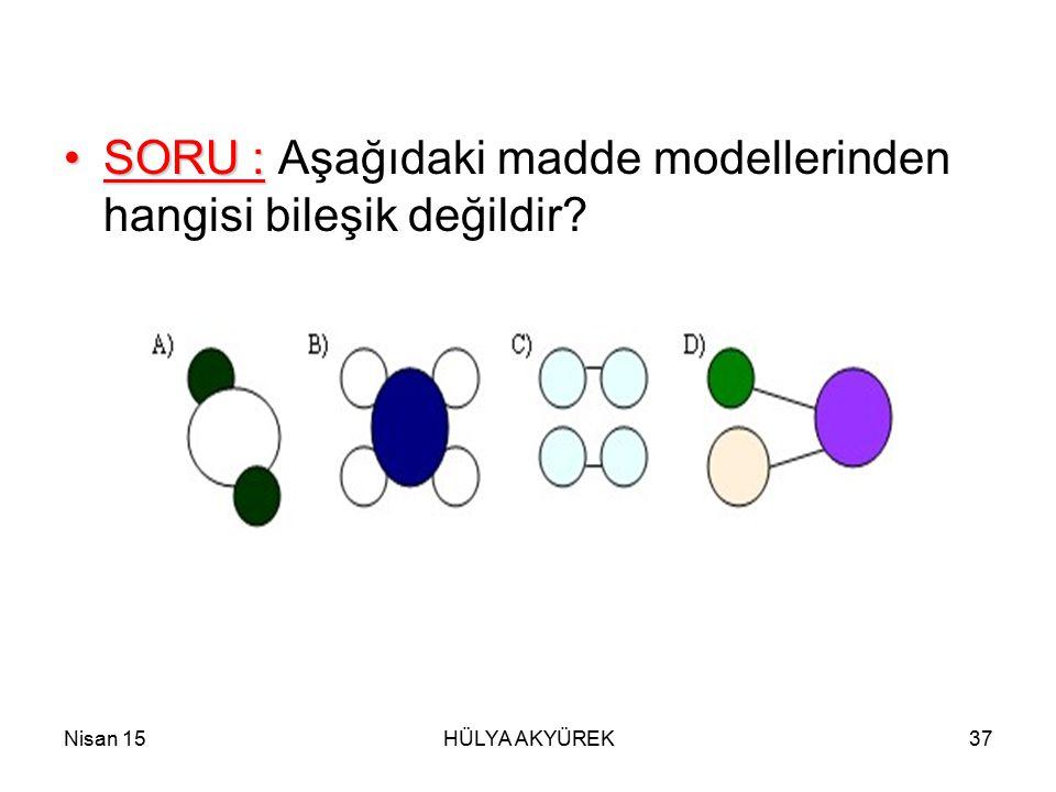 Nisan 15HÜLYA AKYÜREK37 SORU :SORU : Aşağıdaki madde modellerinden hangisi bileşik değildir?