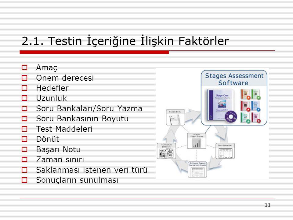 11 2.1. Testin İçeriğine İlişkin Faktörler  Amaç  Önem derecesi  Hedefler  Uzunluk  Soru Bankaları/Soru Yazma  Soru Bankasının Boyutu  Test Mad