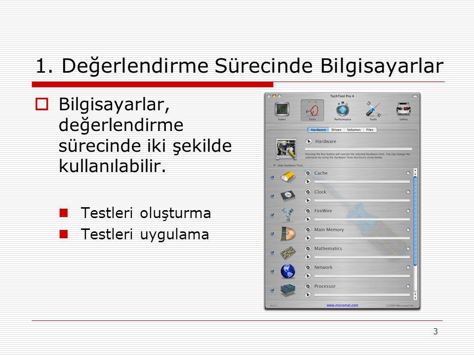 3 1. Değerlendirme Sürecinde Bilgisayarlar  Bilgisayarlar, değerlendirme sürecinde iki şekilde kullanılabilir. Testleri oluşturma Testleri uygulama