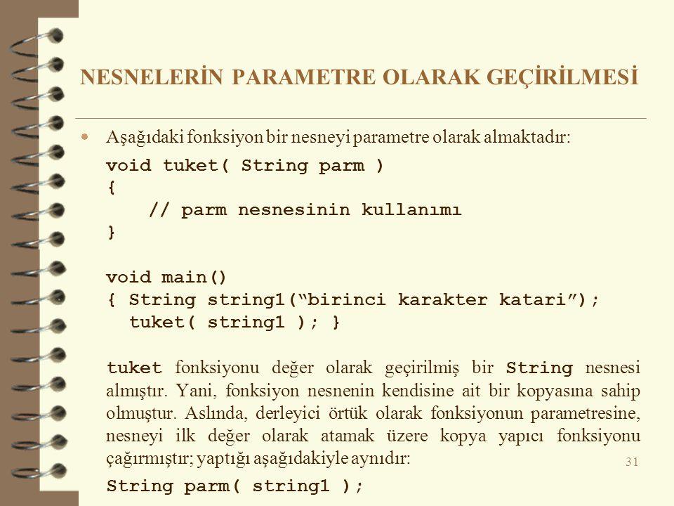 NESNELERİN PARAMETRE OLARAK GEÇİRİLMESİ  Aşağıdaki fonksiyon bir nesneyi parametre olarak almaktadır: void tuket( String parm ) { // parm nesnesinin kullanımı } void main() { String string1( birinci karakter katari ); tuket( string1 ); } tuket fonksiyonu değer olarak geçirilmiş bir String nesnesi almıştır.
