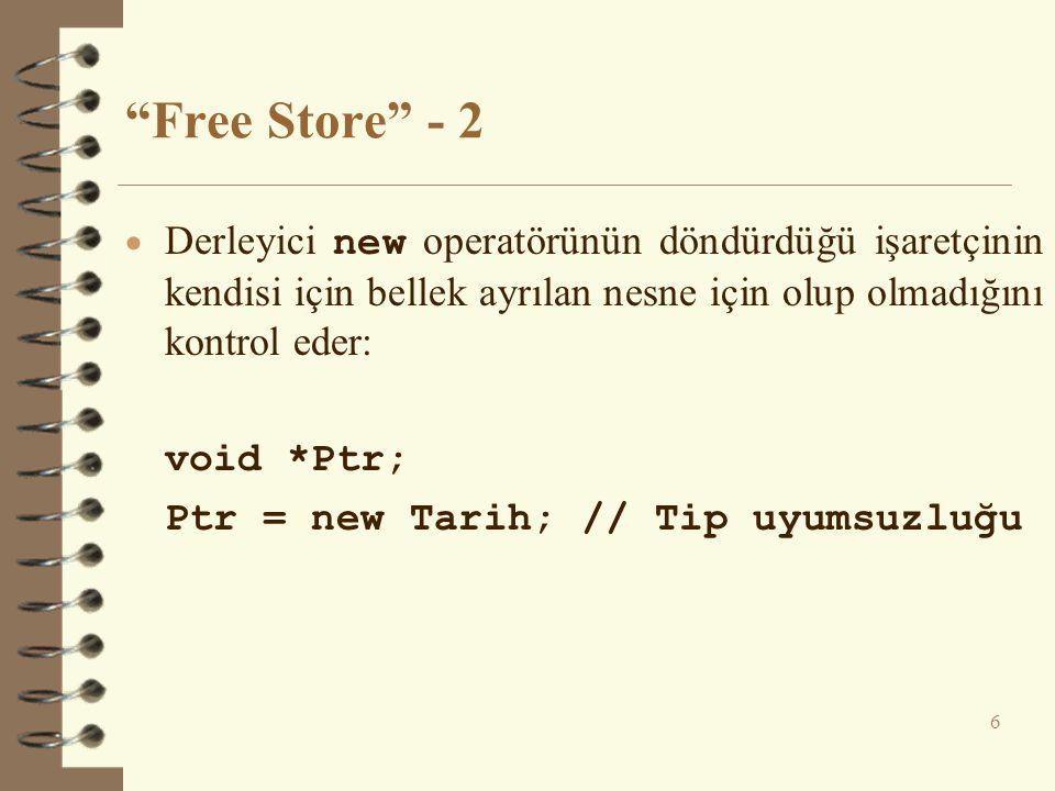 Free Store - 2  Derleyici new operatörünün döndürdüğü işaretçinin kendisi için bellek ayrılan nesne için olup olmadığını kontrol eder: void *Ptr; Ptr = new Tarih; // Tip uyumsuzluğu 6