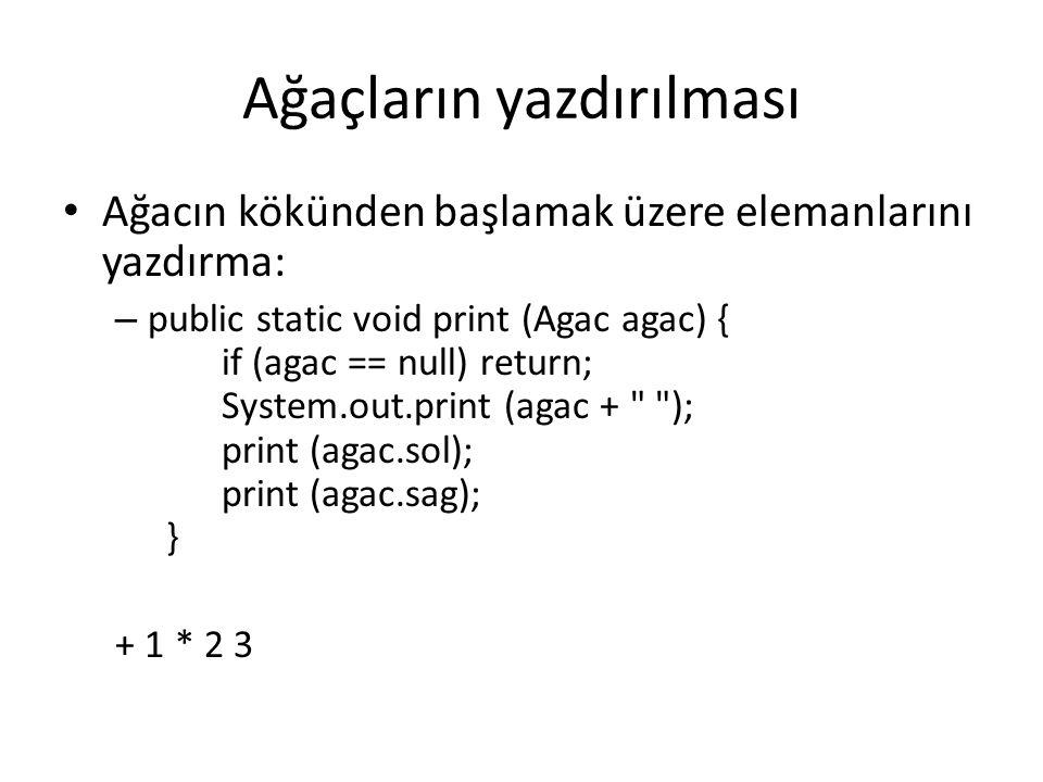 Ağaçların yazdırılması Ağacın kökünden başlamak üzere elemanlarını yazdırma: – public static void print (Agac agac) { if (agac == null) return; System.out.print (agac + ); print (agac.sol); print (agac.sag); } + 1 * 2 3