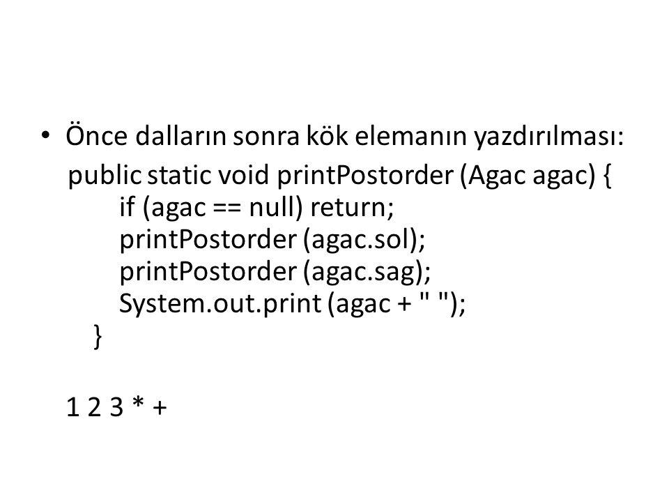 Önce sol, sonra kök sonra da sağ ağacın yazdırılması: public static void printInorder (Agac agac) { if (agac == null) return; printInorder (agac.sol); System.out.print (agac + ); printInorder (agac.sag); } 1 + 2 * 3