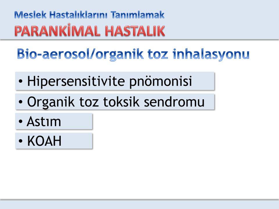 Hipersensitivite pnömonisi Organik toz toksik sendromu Astım KOAH