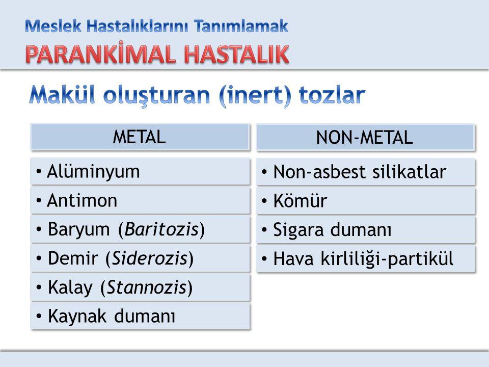 METAL Alüminyum Antimon Baryum (Baritozis) Demir (Siderozis) Kalay (Stannozis) Kaynak dumanı NON-METAL Non-asbest silikatlar Kömür Sigara dumanı Hava