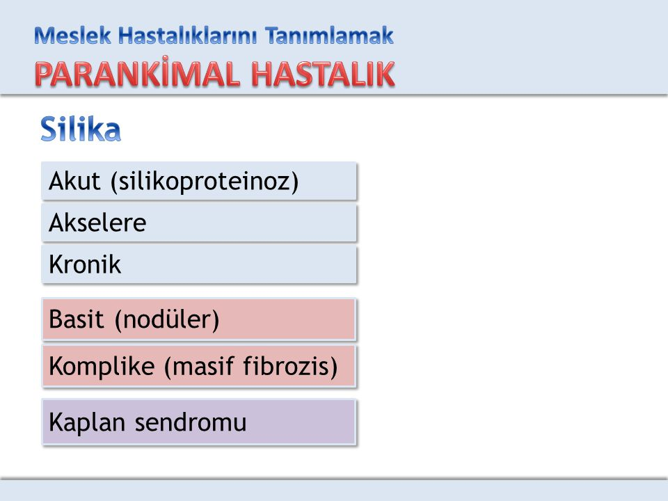 Akut (silikoproteinoz) Akselere Kronik Basit (nodüler) Komplike (masif fibrozis) Kaplan sendromu