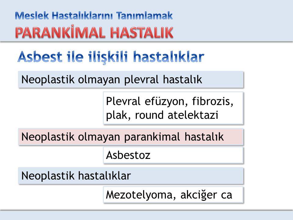 Neoplastik olmayan plevral hastalık Neoplastik olmayan parankimal hastalık Neoplastik hastalıklar Plevral efüzyon, fibrozis, plak, round atelektazi Pl