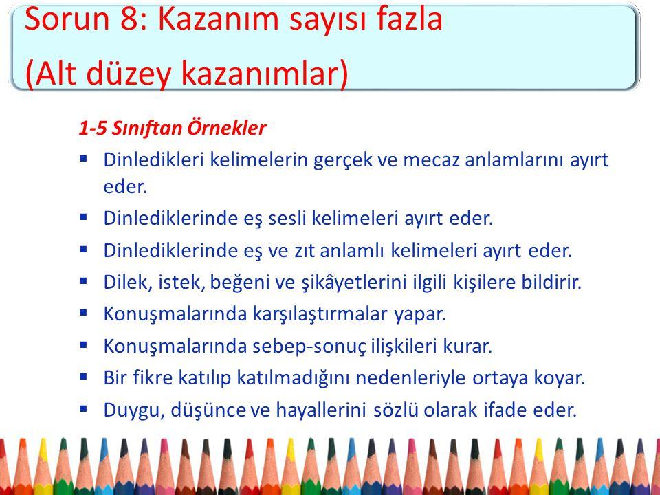 Sorun 5: Kademeler arası kopukluk ve 4+4+4 sistemine uyumsuzluk Sorun 8: Kazanım sayısı fazla (Alt düzey kazanımlar) 1-5 Sınıftan Örnekler  Dinledikl