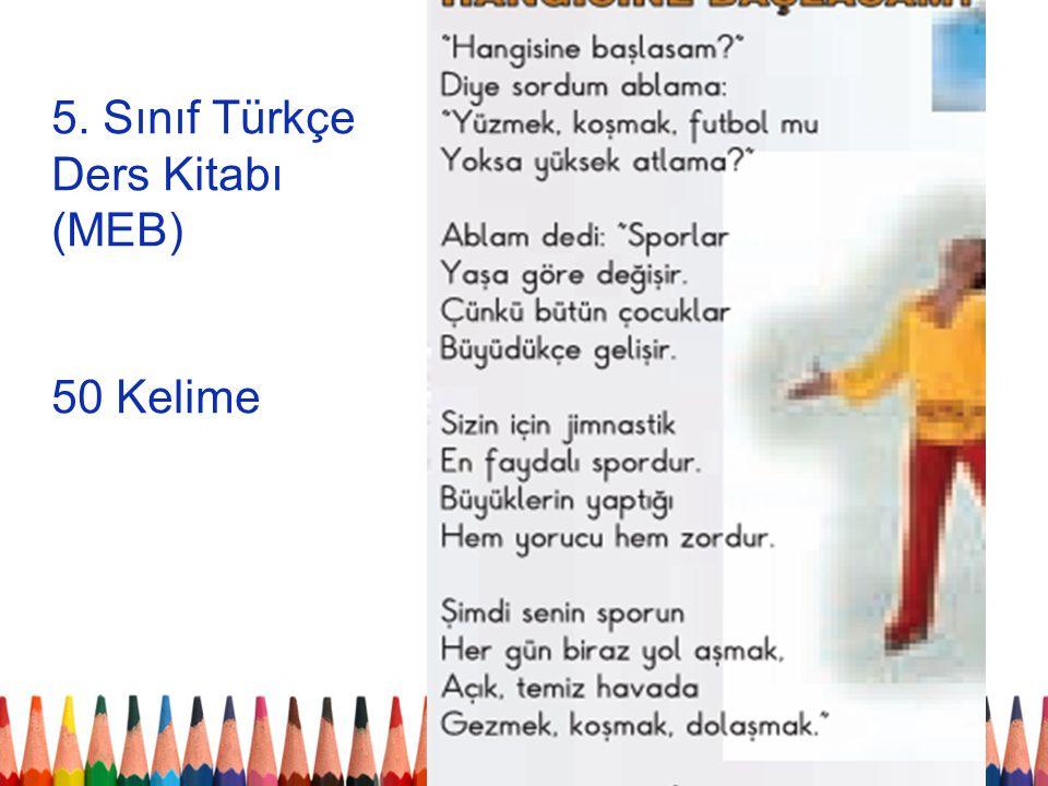 5. Sınıf Türkçe Ders Kitabı (MEB) 50 Kelime