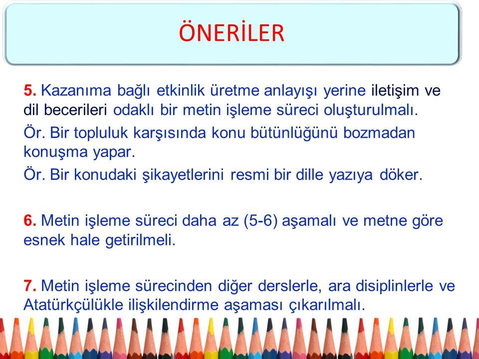 5. Kazanıma bağlı etkinlik üretme anlayışı yerine iletişim ve dil becerileri odaklı bir metin işleme süreci oluşturulmalı. Ör. Bir topluluk karşısında