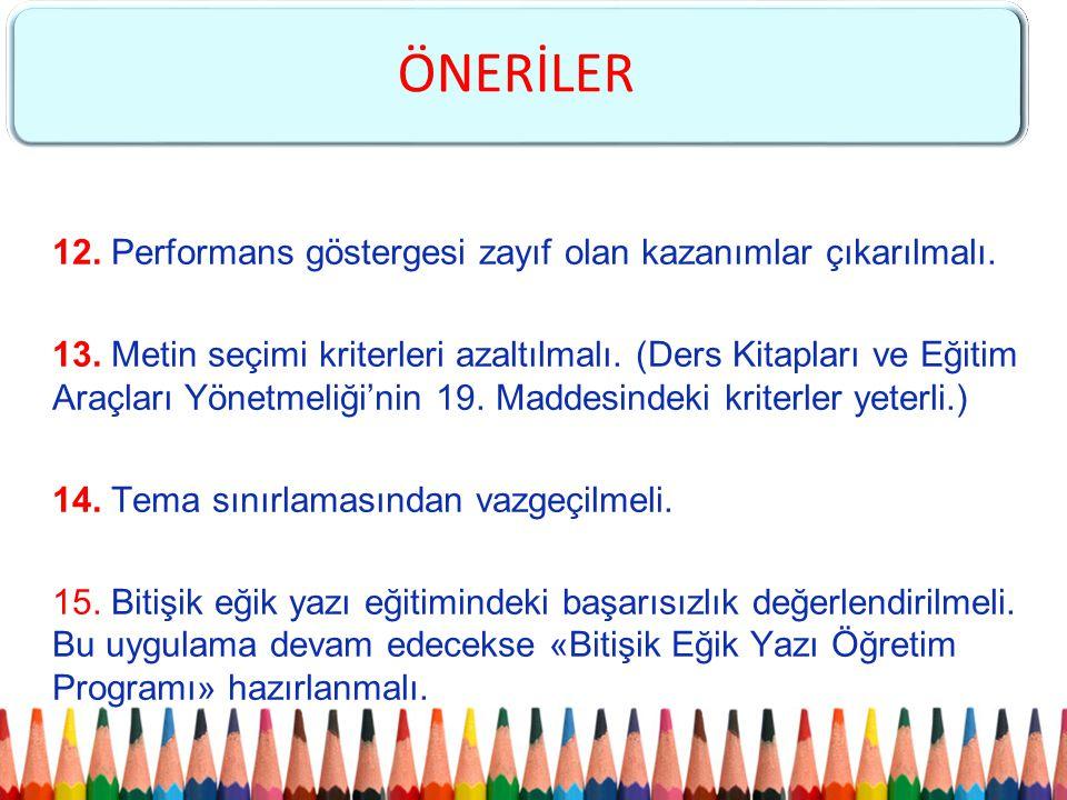 12. Performans göstergesi zayıf olan kazanımlar çıkarılmalı. 13. Metin seçimi kriterleri azaltılmalı. (Ders Kitapları ve Eğitim Araçları Yönetmeliği'n
