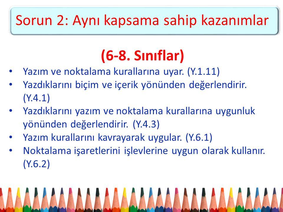 (6-8. Sınıflar) Yazım ve noktalama kurallarına uyar. (Y.1.11) Yazdıklarını biçim ve içerik yönünden değerlendirir. (Y.4.1) Yazdıklarını yazım ve nokta