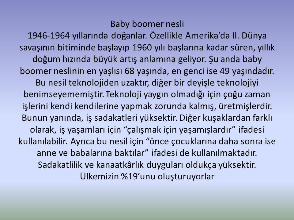 Baby boomer nesli 1946-1964 yıllarında doğanlar. Özellikle Amerika'da II. Dünya savaşının bitiminde başlayıp 1960 yılı başlarına kadar süren, yıllık d