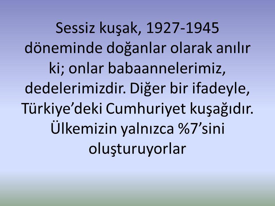 Sessiz kuşak, 1927-1945 döneminde doğanlar olarak anılır ki; onlar babaannelerimiz, dedelerimizdir. Diğer bir ifadeyle, Türkiye'deki Cumhuriyet kuşağı