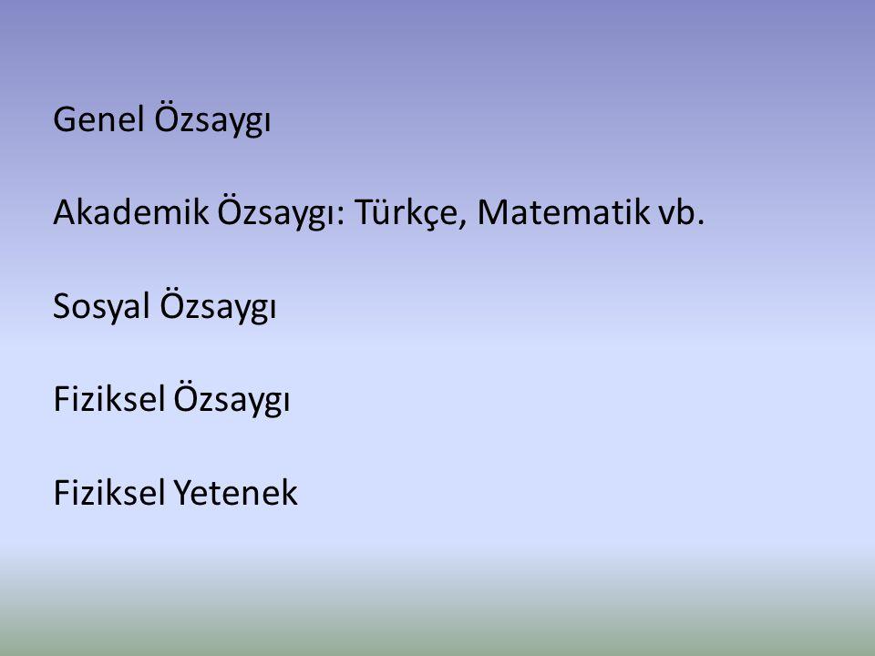 Genel Özsaygı Akademik Özsaygı: Türkçe, Matematik vb. Sosyal Özsaygı Fiziksel Özsaygı Fiziksel Yetenek