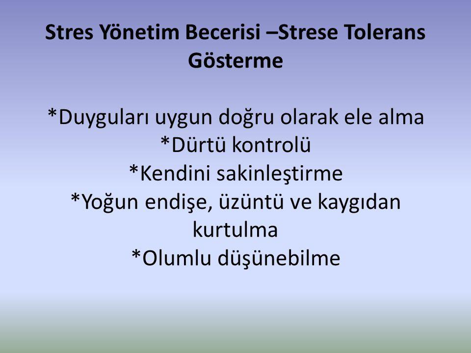 Stres Yönetim Becerisi –Strese Tolerans Gösterme *Duyguları uygun doğru olarak ele alma *Dürtü kontrolü *Kendini sakinleştirme *Yoğun endişe, üzüntü v
