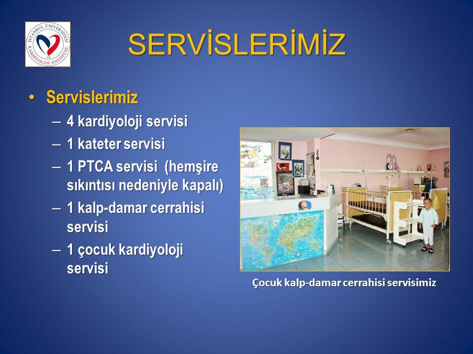 SERVİSLERİMİZ Servislerimiz Servislerimiz – 4 kardiyoloji servisi – 1 kateter servisi – 1 PTCA servisi (hemşire sıkıntısı nedeniyle kapalı) – 1 kalp-damar cerrahisi servisi – 1 çocuk kardiyoloji servisi Çocuk kalp-damar cerrahisi servisimiz