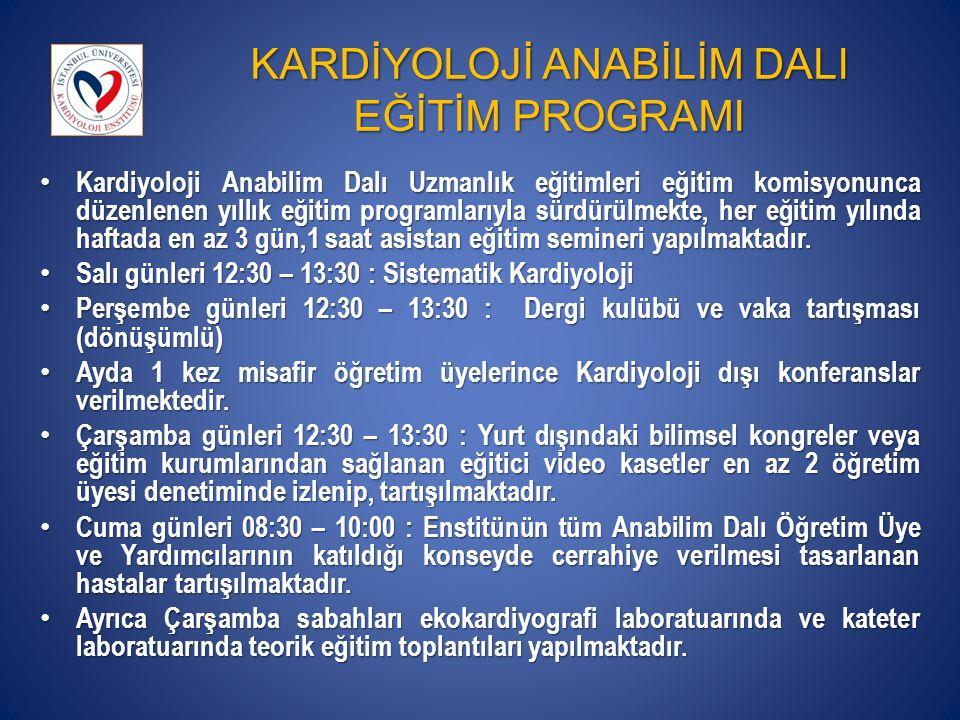 KARDİYOLOJİ ANABİLİM DALI EĞİTİM PROGRAMI Kardiyoloji Anabilim Dalı Uzmanlık eğitimleri eğitim komisyonunca düzenlenen yıllık eğitim programlarıyla sü