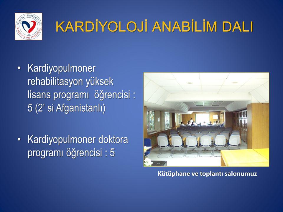 KARDİYOLOJİ ANABİLİM DALI Kardiyopulmoner rehabilitasyon yüksek lisans programı öğrencisi : 5 (2' si Afganistanlı) Kardiyopulmoner rehabilitasyon yüksek lisans programı öğrencisi : 5 (2' si Afganistanlı) Kardiyopulmoner doktora programı öğrencisi : 5 Kardiyopulmoner doktora programı öğrencisi : 5 Kütüphane ve toplantı salonumuz