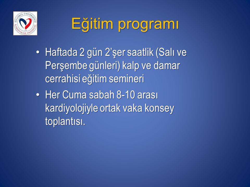 Eğitim programı Haftada 2 gün 2'şer saatlik (Salı ve Perşembe günleri) kalp ve damar cerrahisi eğitim semineri Haftada 2 gün 2'şer saatlik (Salı ve Pe