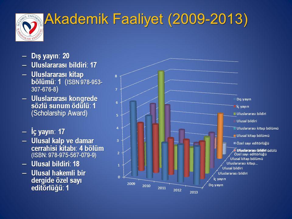 Akademik Faaliyet (2009-2013) – Dış yayın : 20 – Uluslararası bildiri : 17 – Uluslararası kitap bölümü : 1 ( ISBN 978-953- 307-676-8 ) – Uluslararası