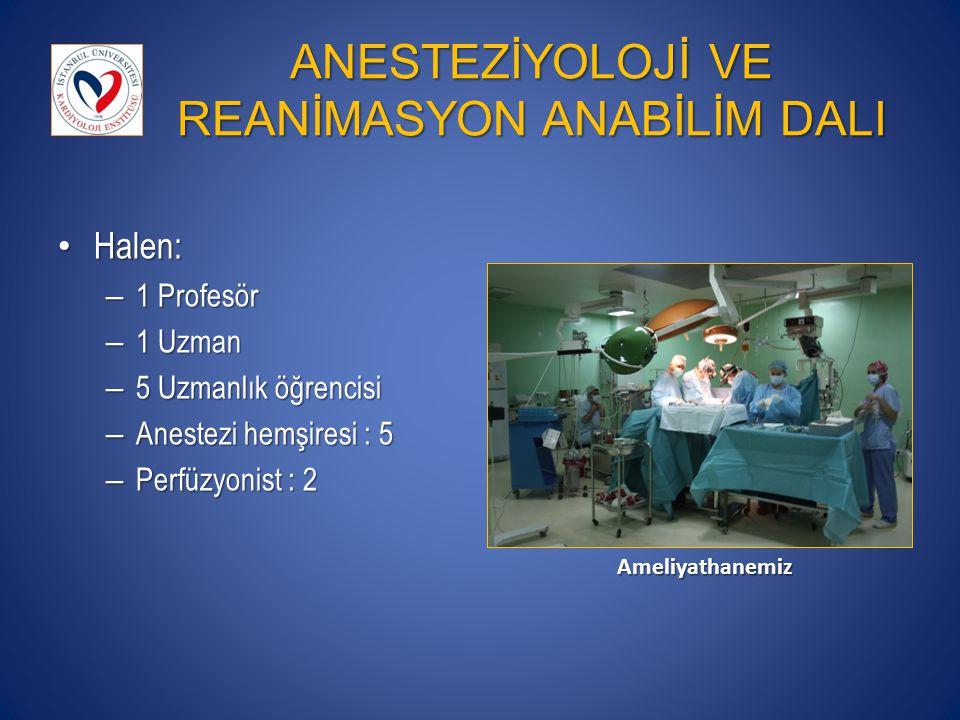 ANESTEZİYOLOJİ VE REANİMASYON ANABİLİM DALI Halen: Halen: – 1 Profesör – 1 Uzman – 5 Uzmanlık öğrencisi – Anestezi hemşiresi : 5 – Perfüzyonist : 2 Am