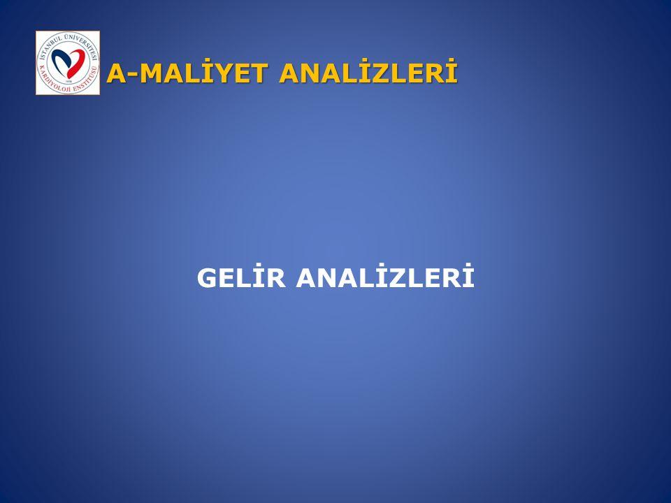 A-MALİYET ANALİZLERİ GELİR ANALİZLERİ