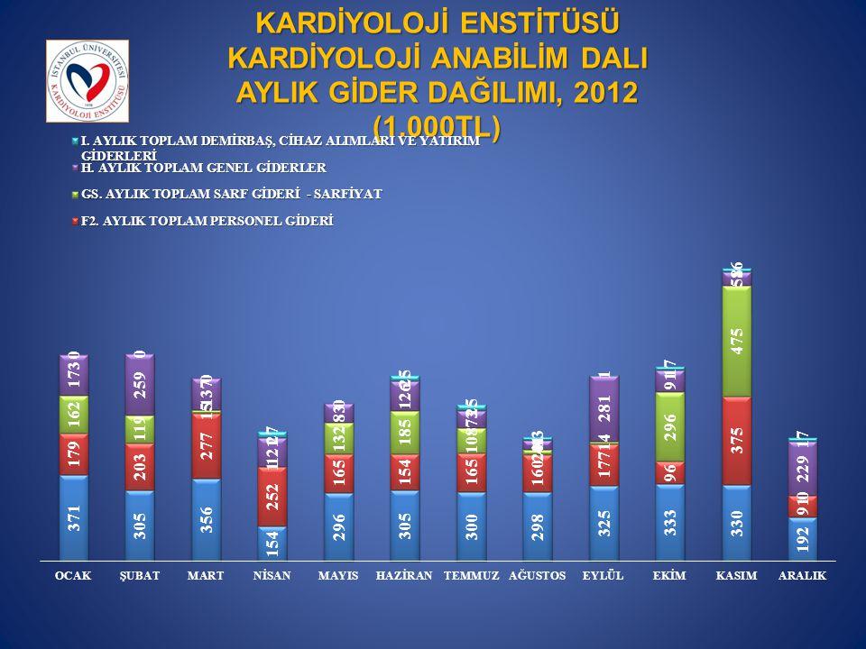 KARDİYOLOJİ ENSTİTÜSÜ KARDİYOLOJİ ANABİLİM DALI AYLIK GİDER DAĞILIMI, 2012 (1.000TL)