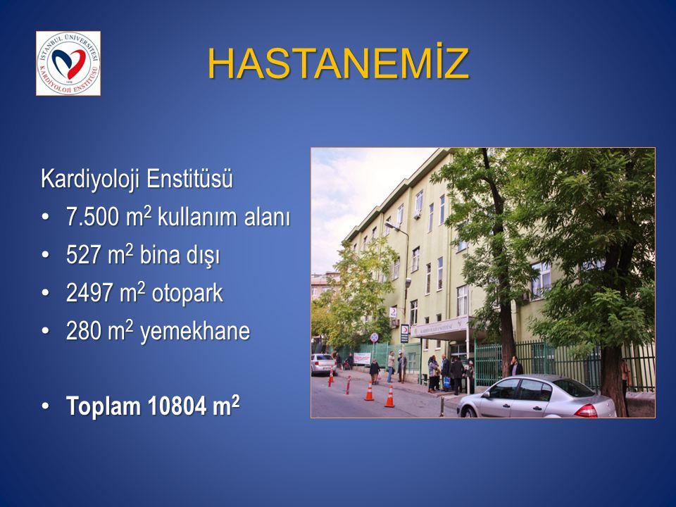 HASTANEMİZ Kardiyoloji Enstitüsü 7.500 m 2 kullanım alanı 7.500 m 2 kullanım alanı 527 m 2 bina dışı 527 m 2 bina dışı 2497 m 2 otopark 2497 m 2 otopark 280 m 2 yemekhane 280 m 2 yemekhane Toplam 10804 m 2 Toplam 10804 m 2