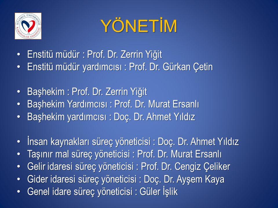 YÖNETİM Enstitü müdür : Prof. Dr. Zerrin Yiğit Enstitü müdür : Prof. Dr. Zerrin Yiğit Enstitü müdür yardımcısı : Prof. Dr. Gürkan Çetin Enstitü müdür