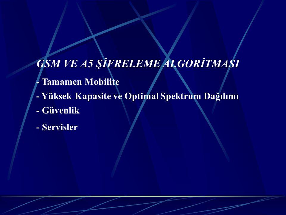 GSM VE A5 ŞİFRELEME ALGORİTMASI - Tamamen Mobilite - Yüksek Kapasite ve Optimal Spektrum Dağılımı - Güvenlik - Servisler