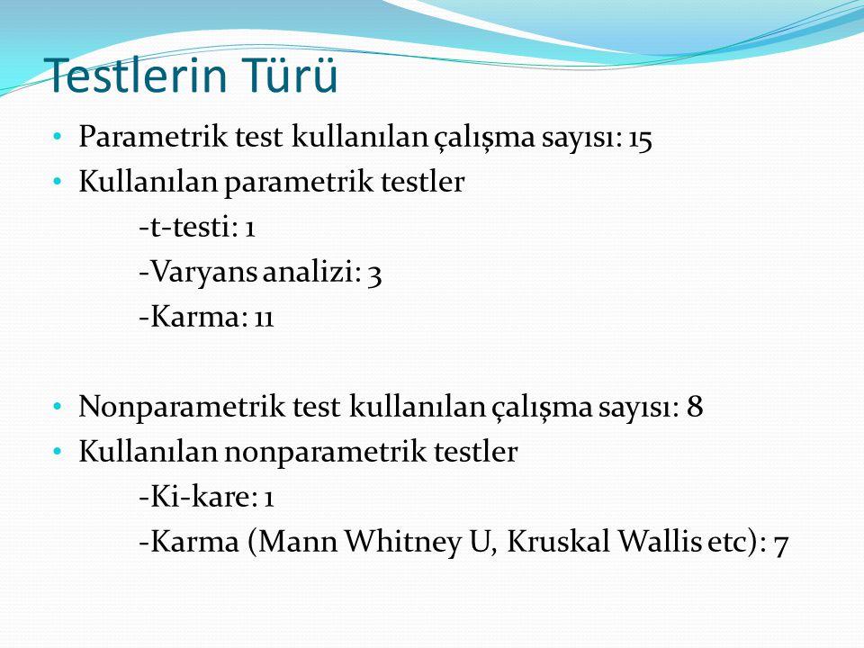 Testlerin Türü Parametrik test kullanılan çalışma sayısı: 15 Kullanılan parametrik testler -t-testi: 1 -Varyans analizi: 3 -Karma: 11 Nonparametrik te