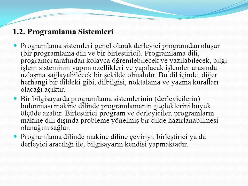 1.2. Programlama Sistemleri Programlama sistemleri genel olarak derleyici programdan oluşur (bir programlama dili ve bir birleştirici). Programlama di