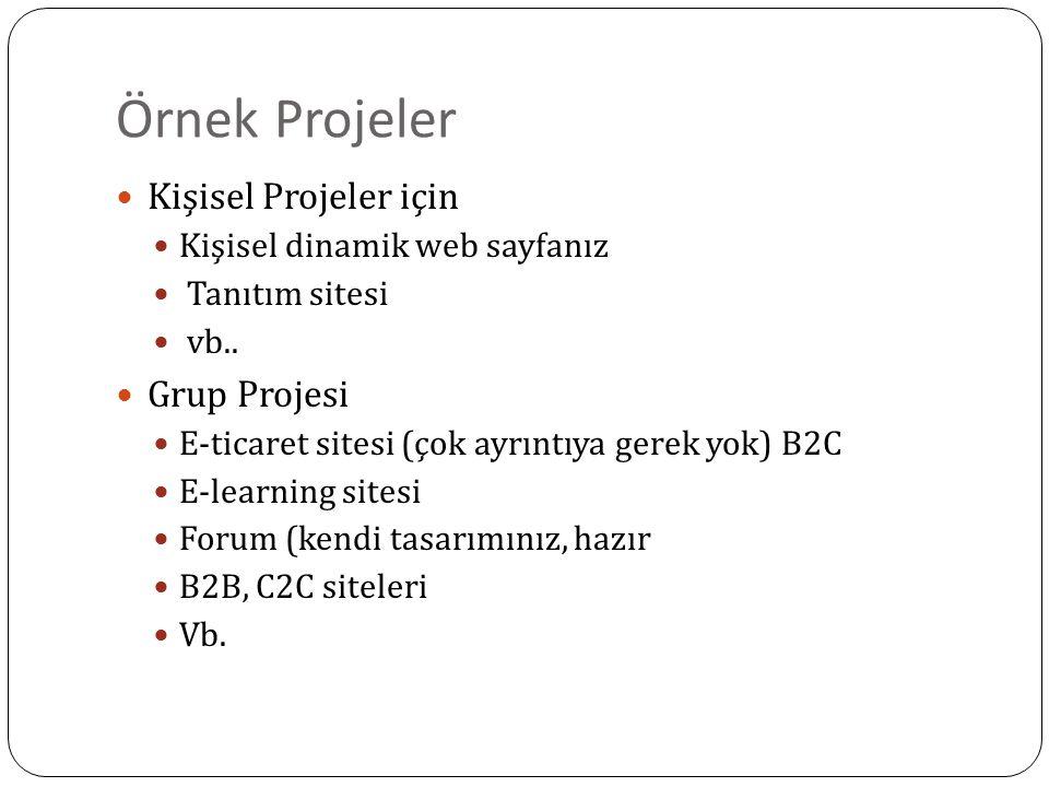 Örnek Projeler Kişisel Projeler için Kişisel dinamik web sayfanız Tanıtım sitesi vb.. Grup Projesi E-ticaret sitesi (çok ayrıntıya gerek yok) B2C E-le