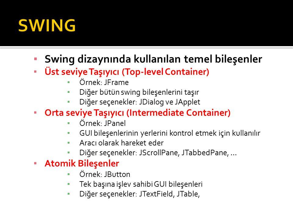 ▪ Swing dizaynında kullanılan temel bileşenler ▪ Üst seviye Taşıyıcı (Top-level Container) ▪ Örnek: JFrame ▪ Diğer bütün swing bileşenlerini taşır ▪ Diğer seçenekler: JDialog ve JApplet ▪ Orta seviye Taşıyıcı (Intermediate Container) ▪ Örnek: JPanel ▪ GUI bileşenlerinin yerlerini kontrol etmek için kullanılır ▪ Aracı olarak hareket eder ▪ Diğer seçenekler: JScrollPane, JTabbedPane, … ▪ Atomik Bileşenler ▪ Örnek: JButton ▪ Tek başına işlev sahibi GUI bileşenleri ▪ Diğer seçenekler: JTextField, JTable,