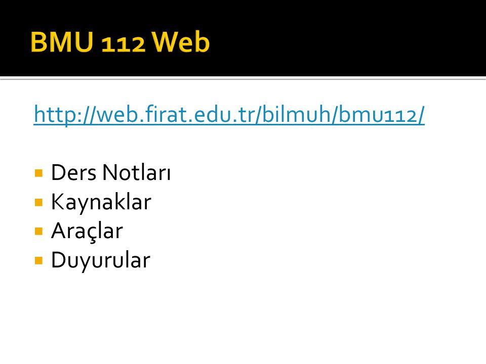 http://web.firat.edu.tr/bilmuh/bmu112/  Ders Notları  Kaynaklar  Araçlar  Duyurular
