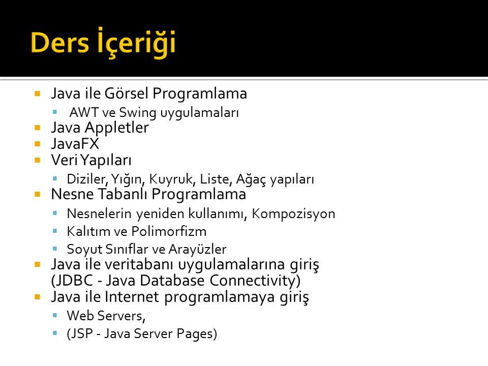  Java ile Görsel Programlama  AWT ve Swing uygulamaları  Java Appletler  JavaFX  Veri Yapıları  Diziler, Yığın, Kuyruk, Liste, Ağaç yapıları  Nesne Tabanlı Programlama  Nesnelerin yeniden kullanımı, Kompozisyon  Kalıtım ve Polimorfizm  Soyut Sınıflar ve Arayüzler  Java ile veritabanı uygulamalarına giriş (JDBC - Java Database Connectivity)  Java ile Internet programlamaya giriş  Web Servers,  (JSP - Java Server Pages)